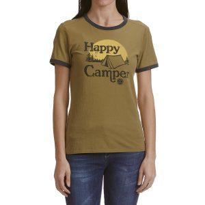 Life Is Good Women's Happy Camper Tent Ringer Tee - Green, M