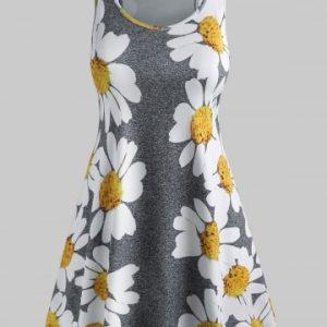 Plus Size Daisy Print Mini Tent Dress